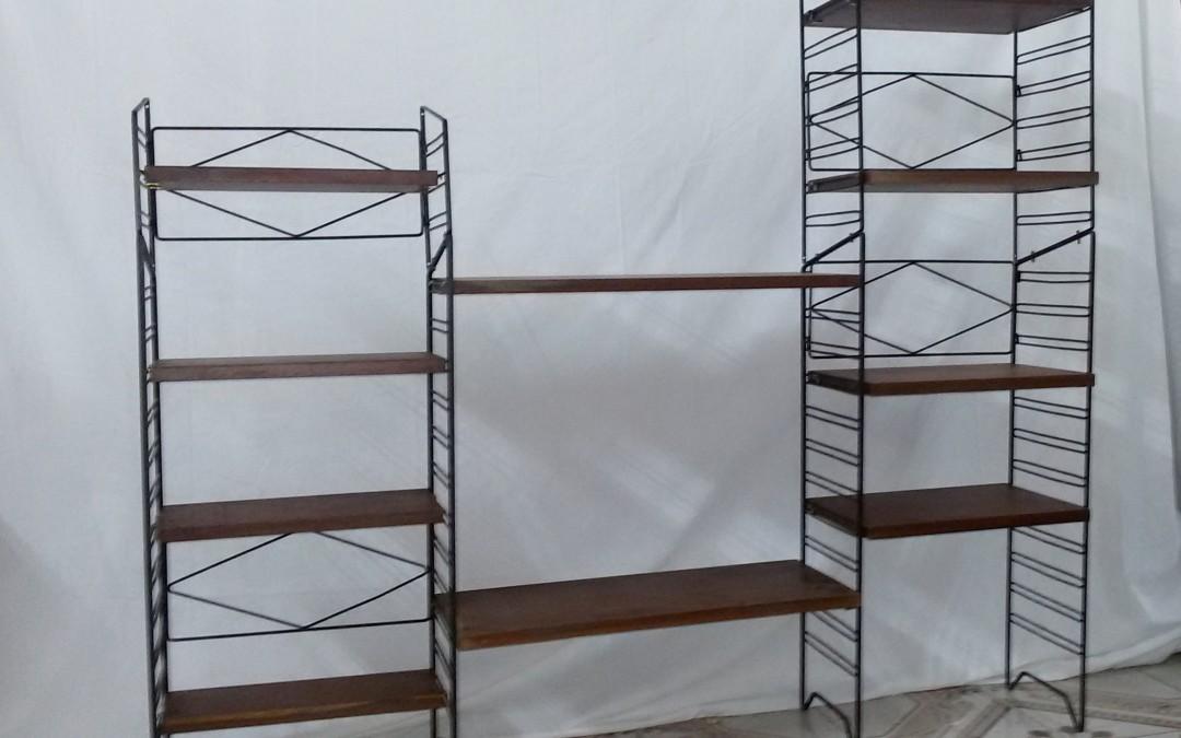 Scaffalatura legno e metallo anni 70 vintage / SOLD