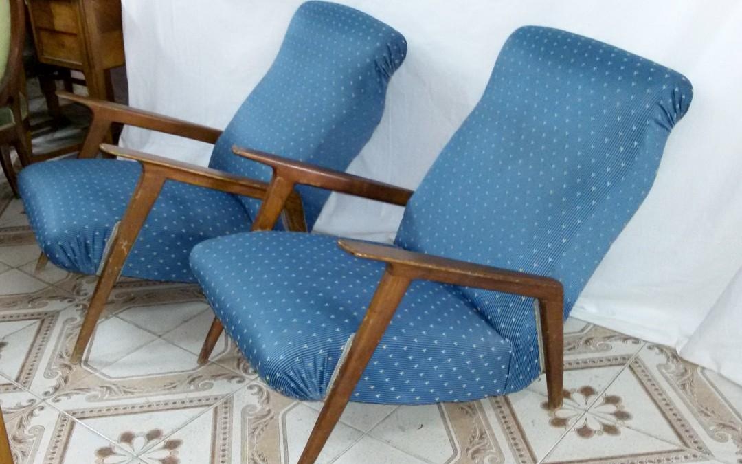 coppia di poltrone in legno e stoffa anni 50-60  design Style Franco Albini / SOLD