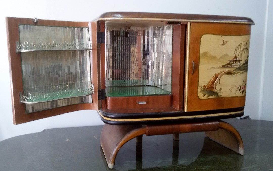 MOBILE BAR GIRADISCHI RADICA Art deco'bar cabinet console ANNI 30 record player