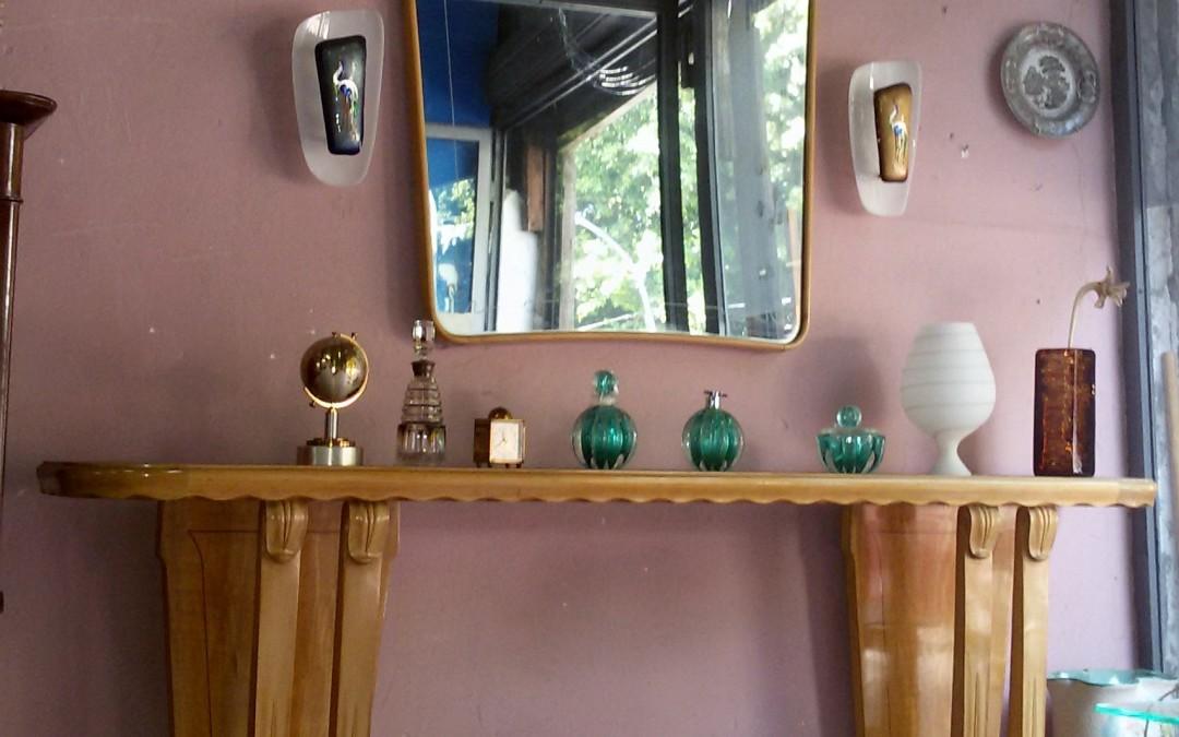 consolle ingresso con specchio,mirror 50s design Paolo Buffa modernariato / SOLD