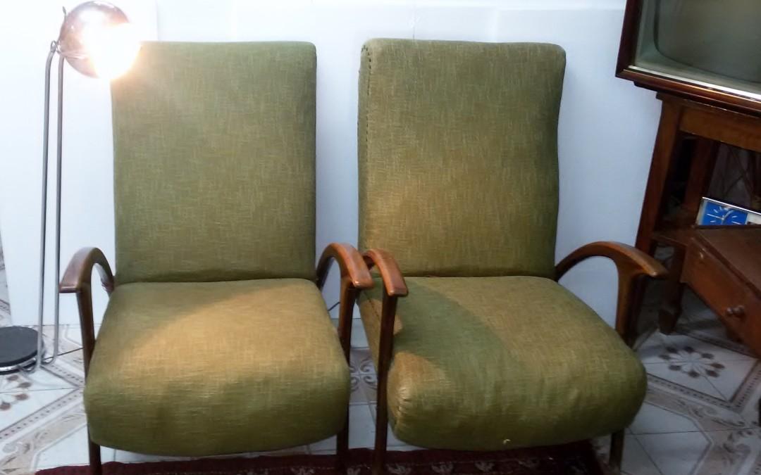 Poltrone armchairs anni 50 in stoffa verde modernariato,art deco design italien