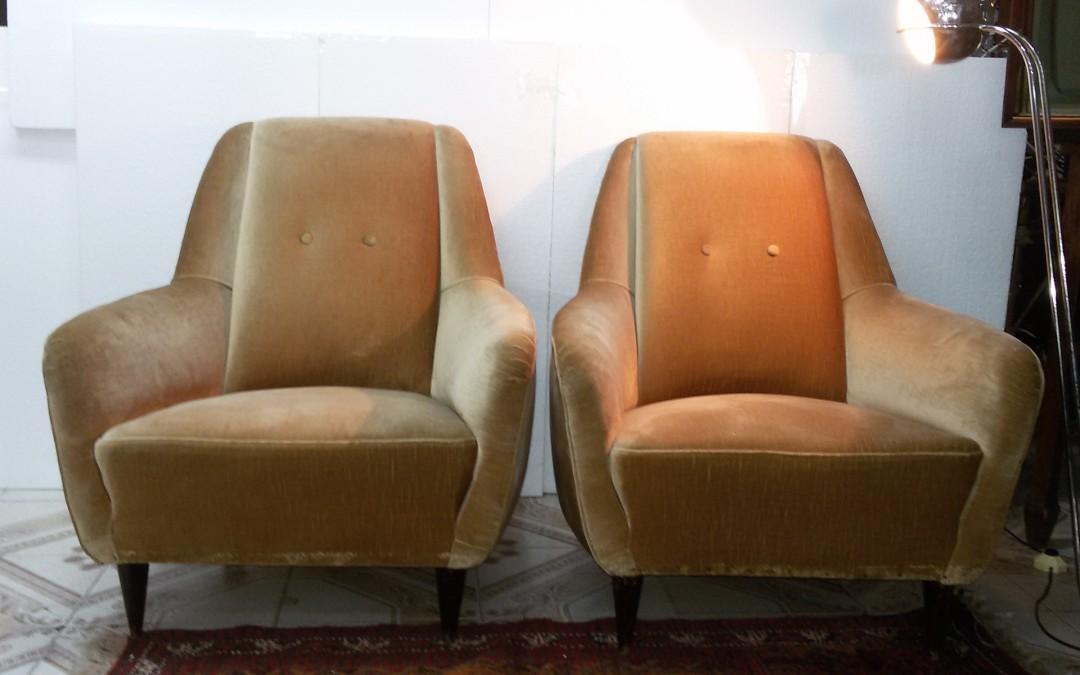 Poltrone armchairs anni 50 in velluto beige modernariato,art deco design italien / SOLD