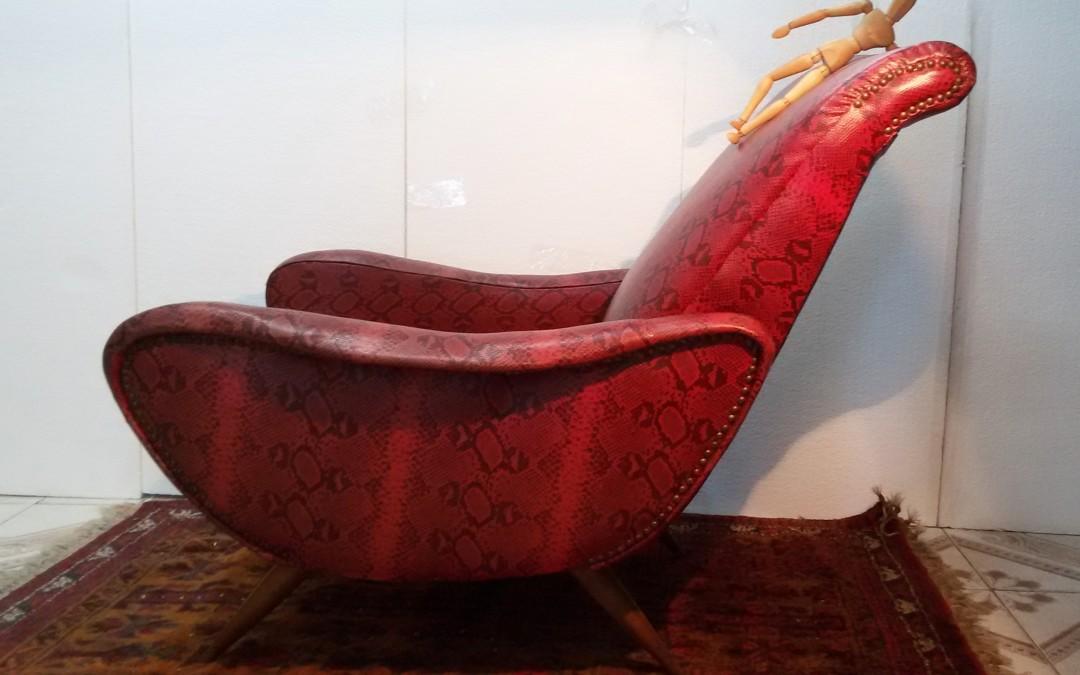 poltrona Chair armchairs design Marco Zanuso anni 50 / 60 sky pitonato vintage