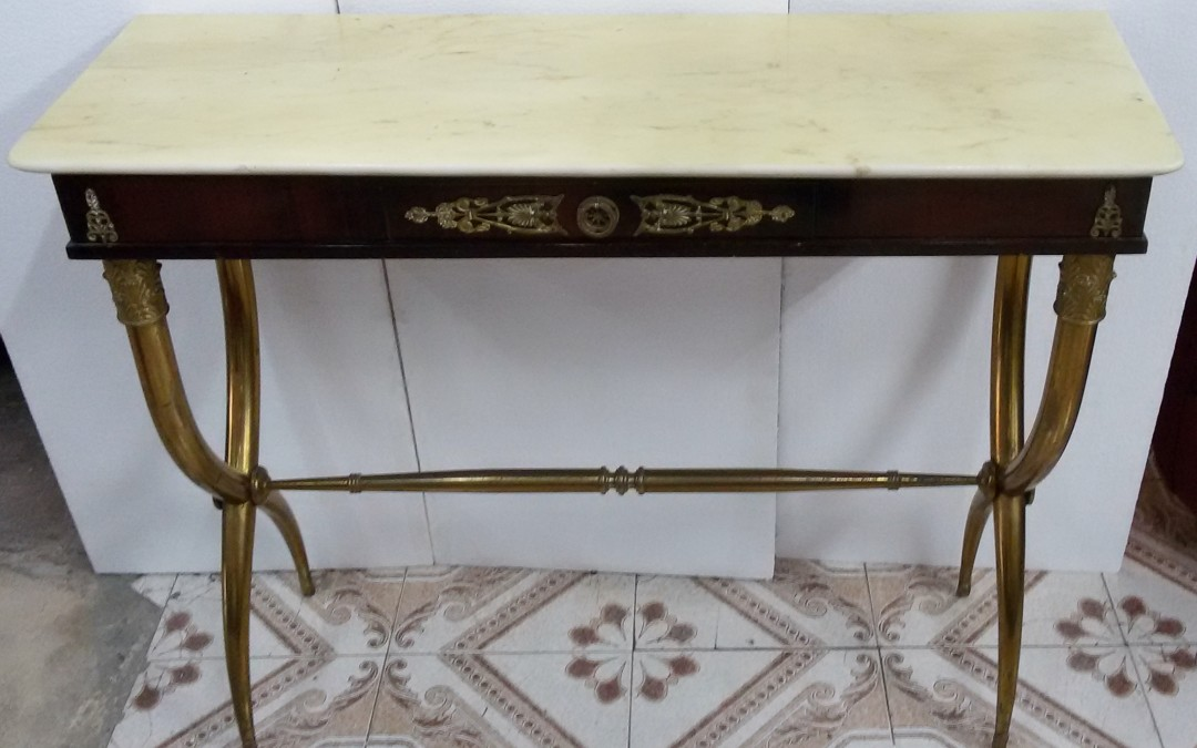 table consolle con specchio in ottone,brass mirror design italiano 50