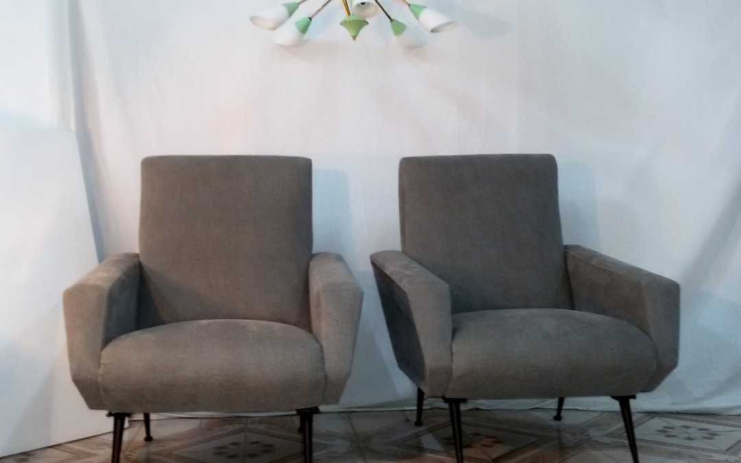 coppia poltrone in stoffa Armchairs,chaises,Design,Marco Zanuso anni 60 / SOLD
