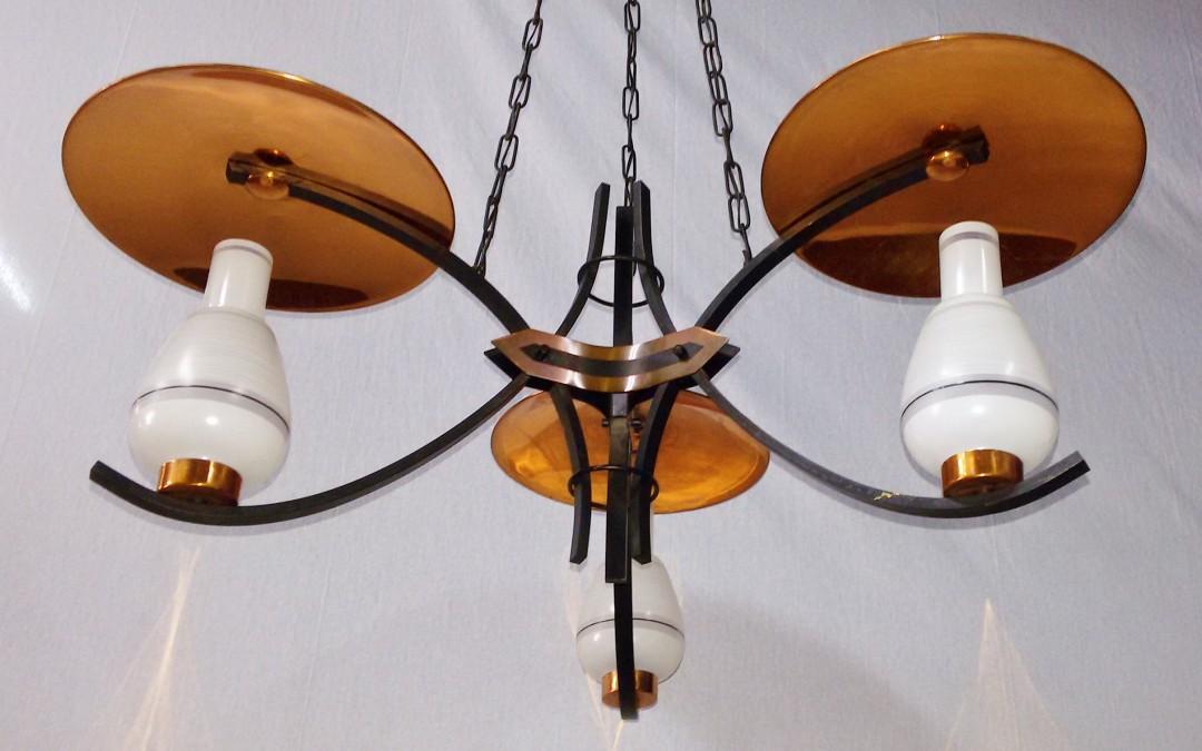 Lampadario,lustre,chandelier,3 luci in Rame design Stilnovo modernariato,anni 60