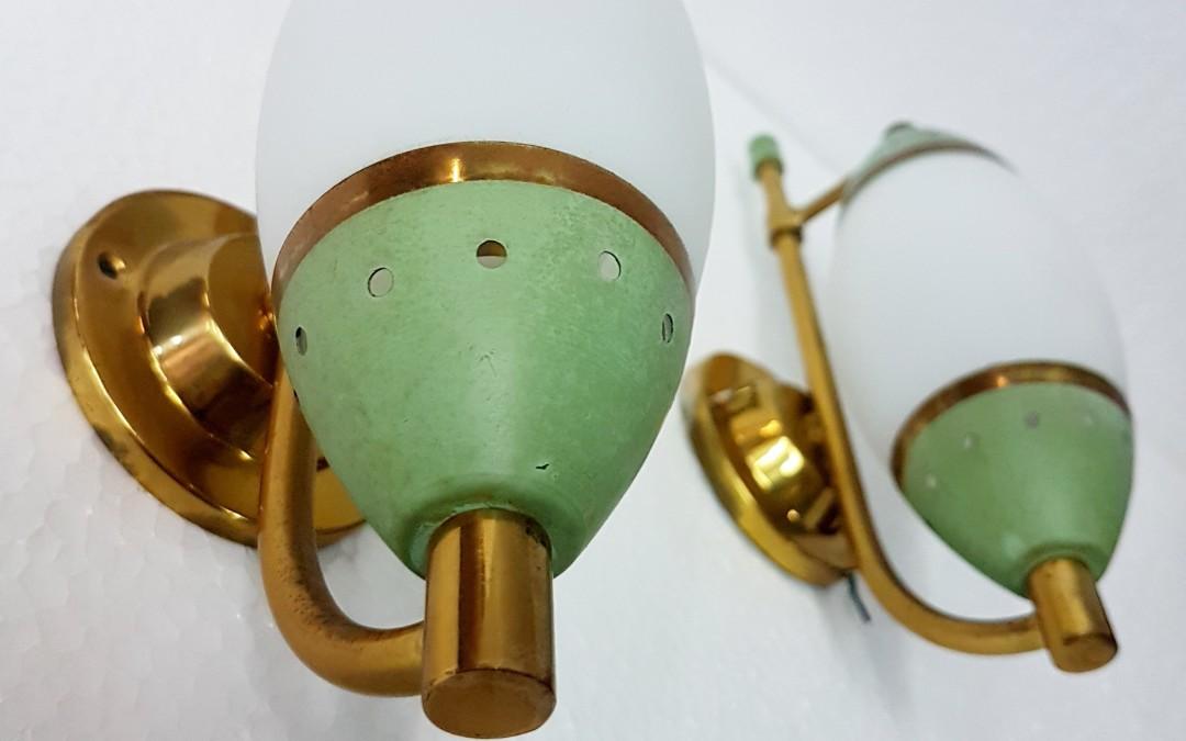 Applique lampade lamp design Stilnovo.Ottone diffusori in opalina anni 50