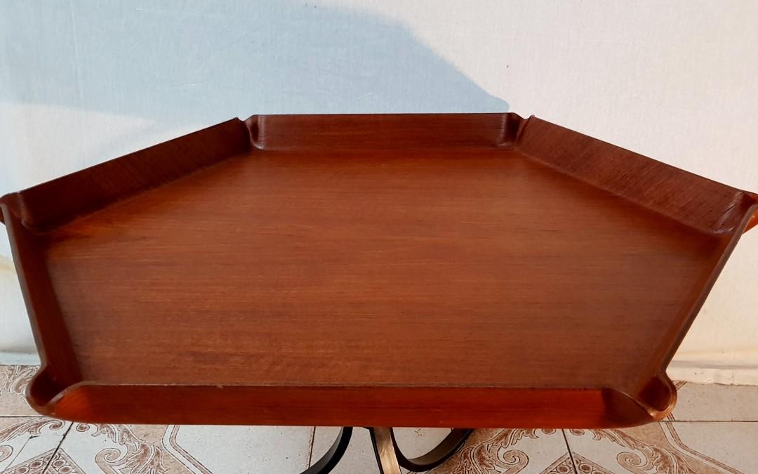 Tavolo coffe table esagonale Design Carlo Ratti Legno curvato Mid-Century 50