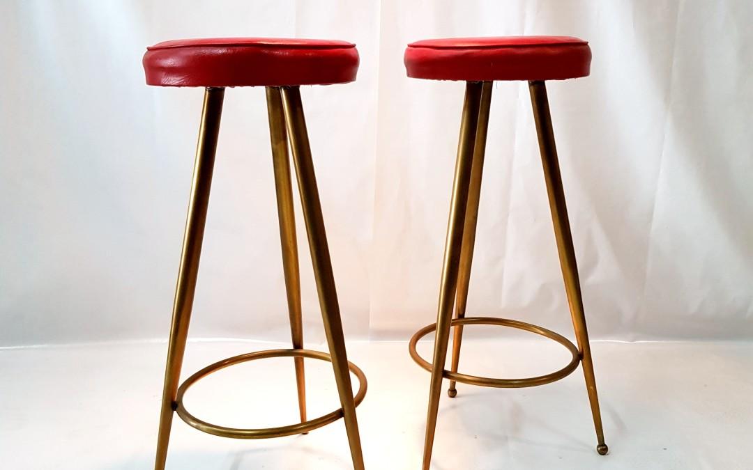 Sgabelli in ottone,stools brass,gamba a spillo,anni '50,design Gio Ponti Italia