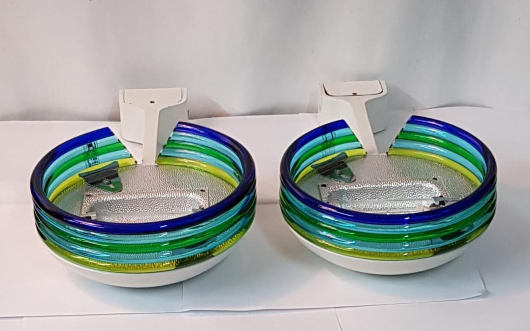 Lampade,coppia di applques in metallo e vetro design Leucos anni 60