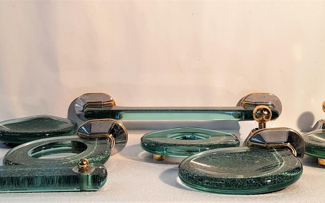 Cristallo un set di accessori da bagno 9 pz. linea arte design anni 60/ 70