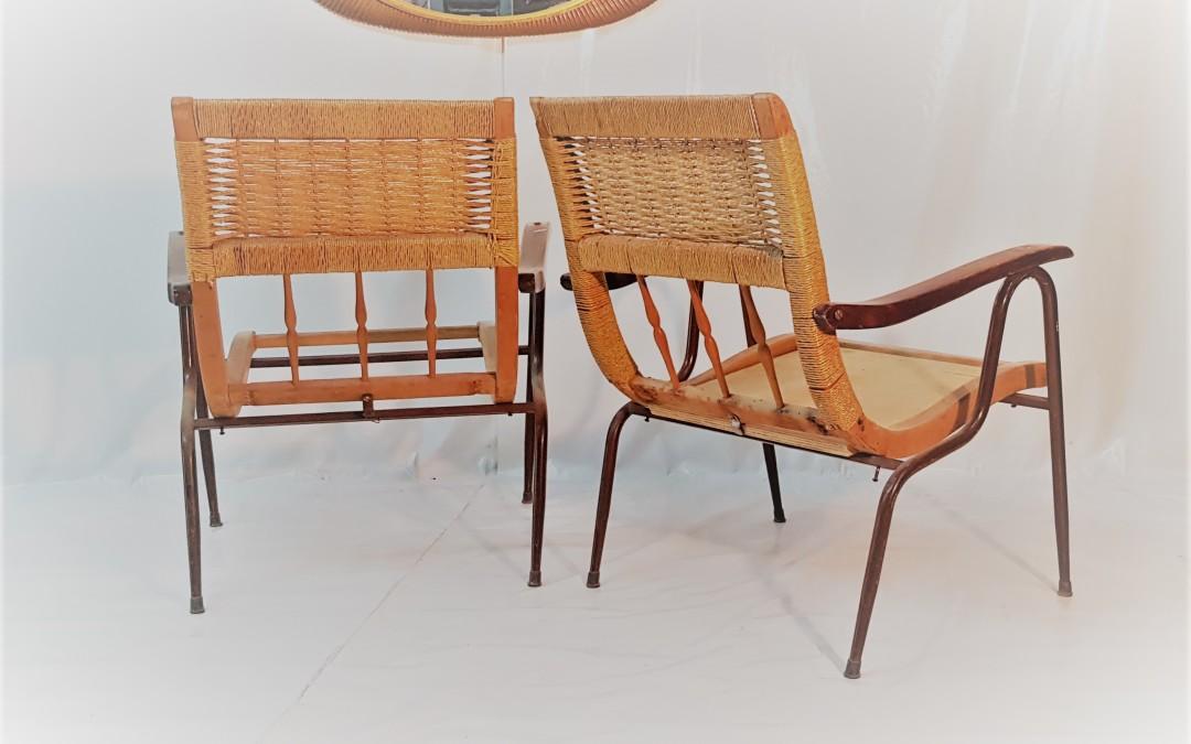 Poltrone archamir garden chair struttura in metallo legno design anni 60 Italia