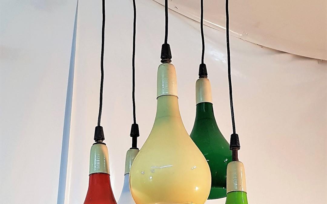 Lampadario da sospensione 5 luci design Stilnovo anni 60