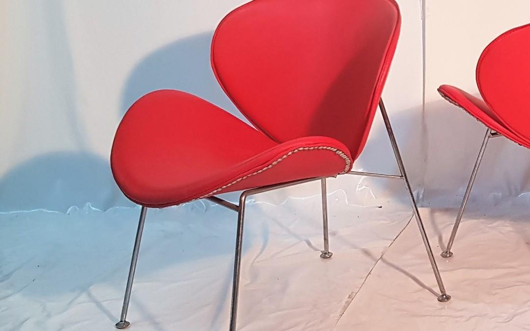 Coppia di sedie anni 50 in metallo cromato