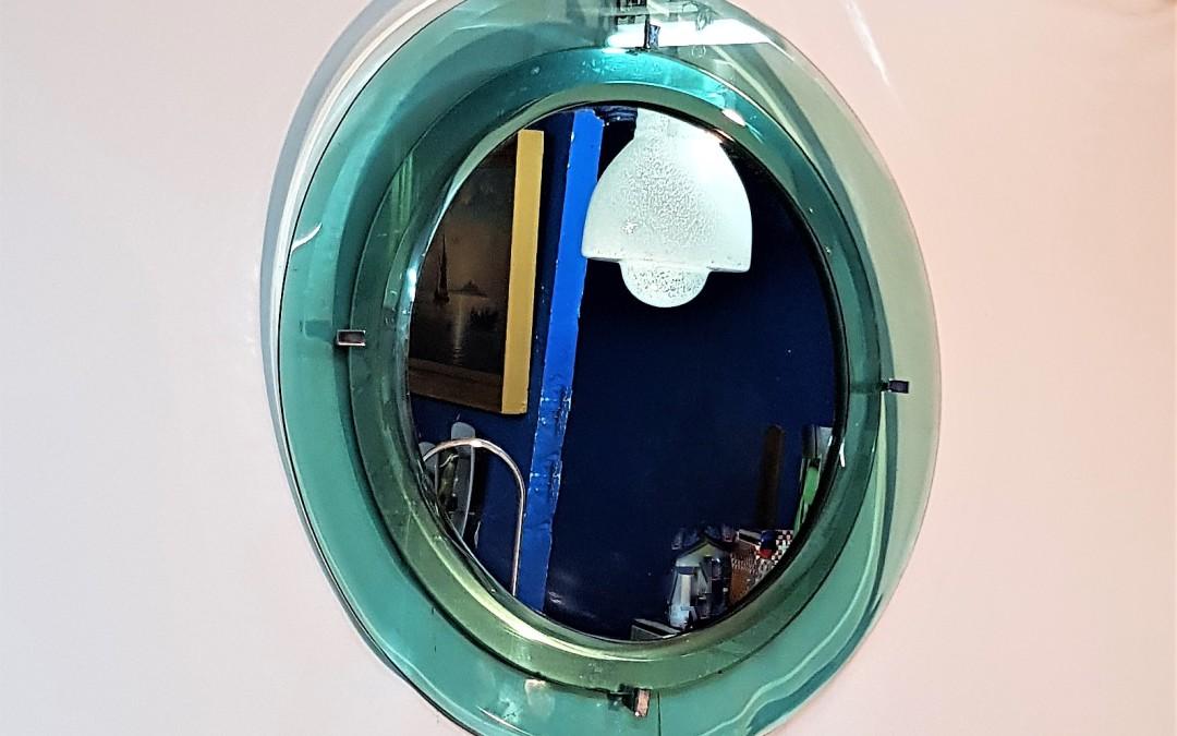 Specchio mirror con cornice in vetro colorato e molato. Prod.Cristal Art, 1960