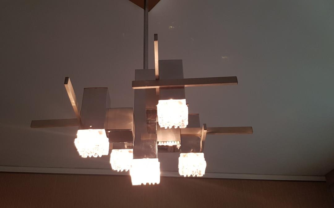 Lampadario, Design Cubic Gaetano Sciolari chandelier, Italy 1960