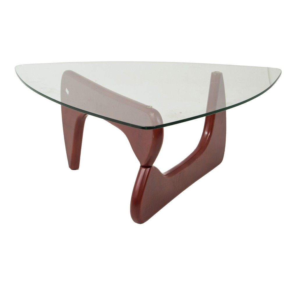 ISAMU NOGUCHI tavolino basso in legno con piano in vetro.anni 60 / 70