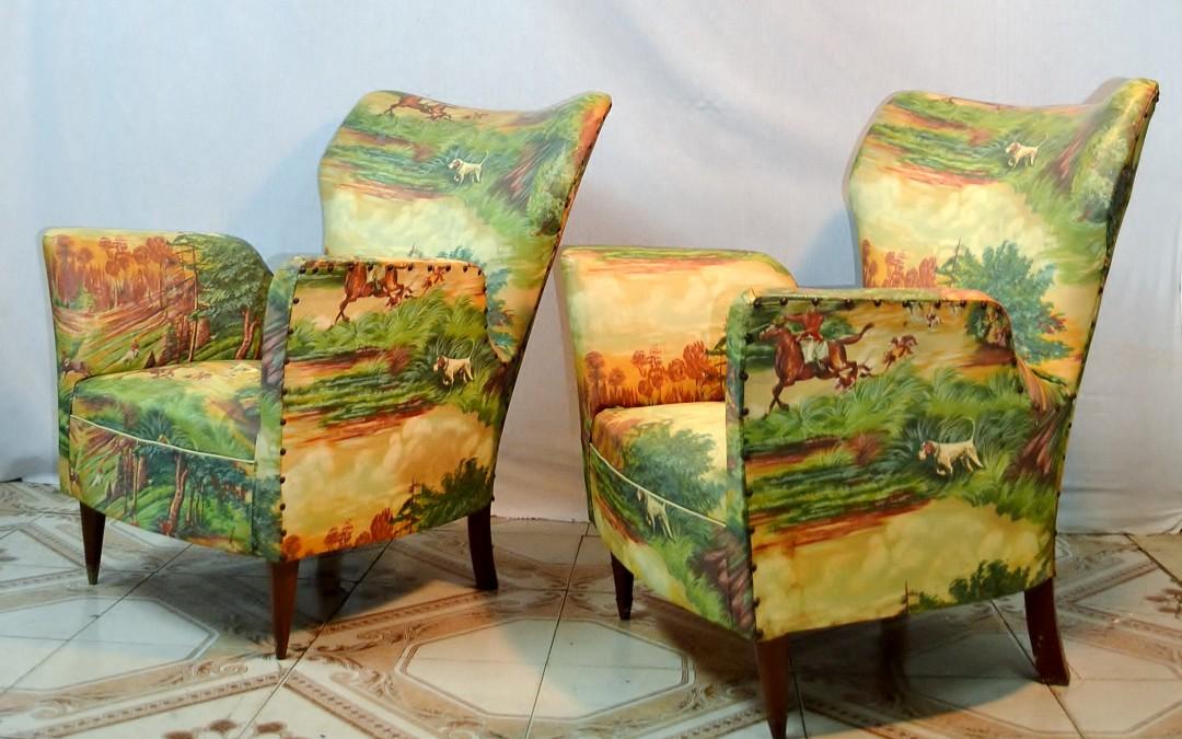 Poltrone armchair design attribuito a Gio Ponti Hotel Bristol 1950 modernariato
