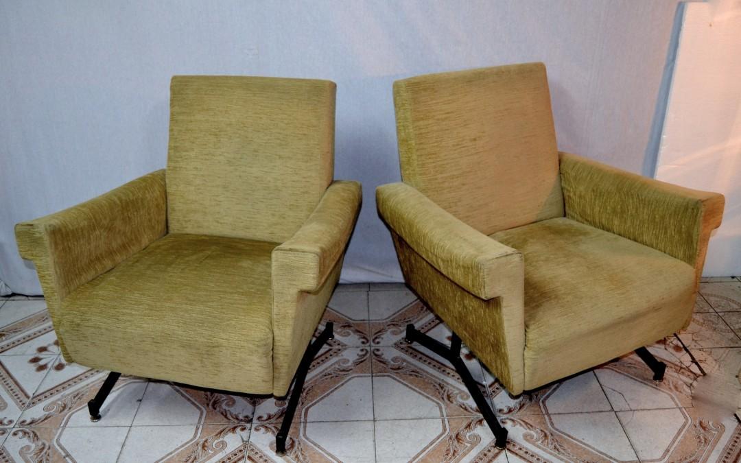 Coppia Poltrone armchairs style zanuso,anni 60 design italiano vintage