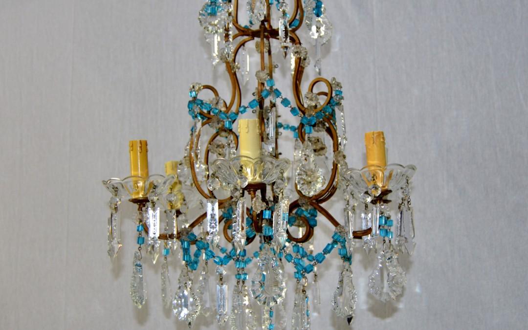 Lampadario antico a gocce con pendenti in cristallo molato chandellier lamp