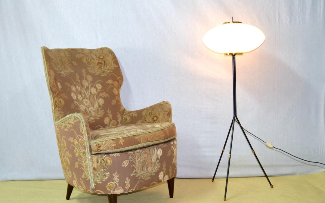Poltrona armchair legno e tessuto design Bega Melchiorre anni 40 modernariato
