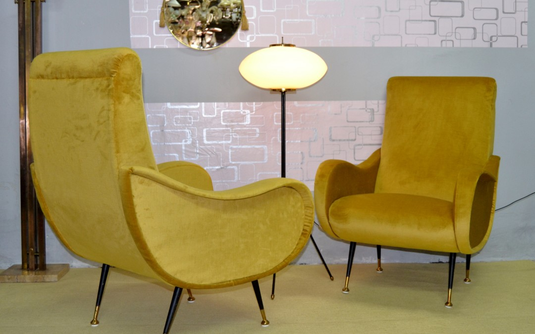 Poltrone Armchairs chair In Velluto Anni '50 design Nello Stile Lady Di Zanuso