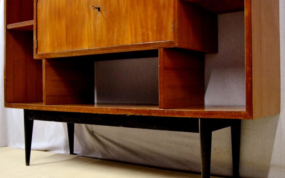 Libreria library da centro in legno teak design anni 60 modernariato