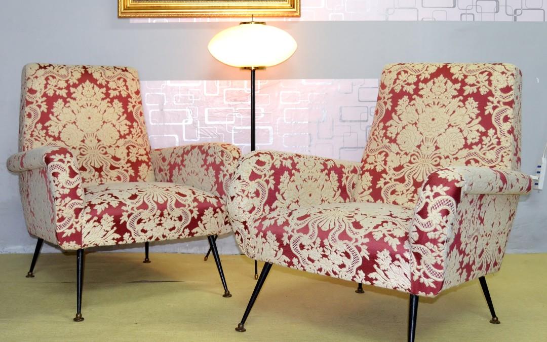 Coppia poltrone armchair stoffa originale anni 60 attribuzione design Gio Ponti