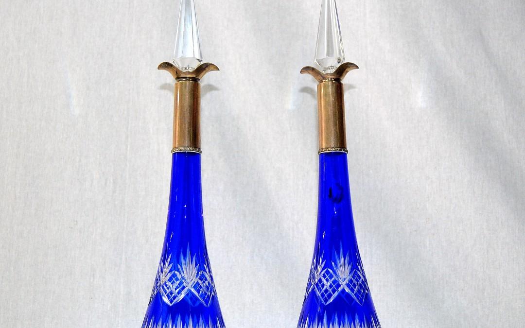 Rara coppia di decanters  in cristallo di Baccarat e Argento  epoca 1920
