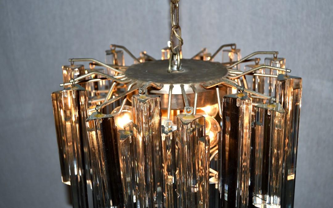 Lampadario chandelier,design anni 60 Venini murano triedri trilobi mid century