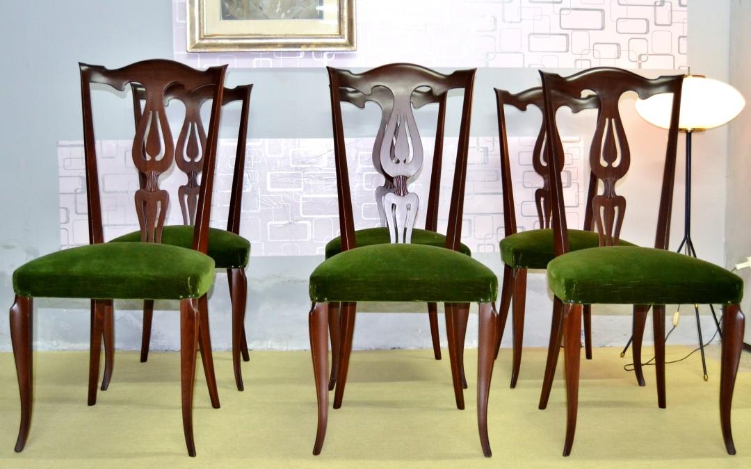 6 sedie anni 50 in mogano perfette