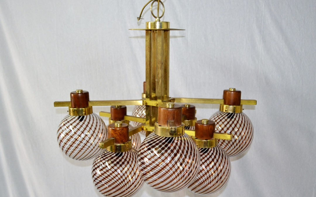 Lampadario, Chandelier, design Sciolari,in ottone Quindici 8 luci, anni 60'
