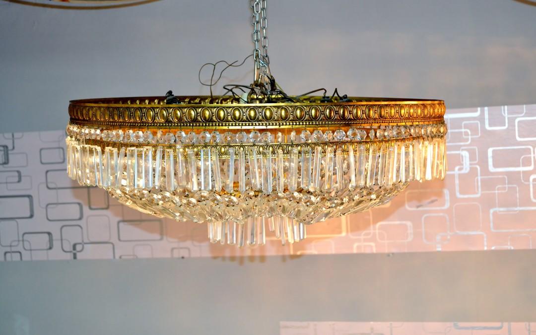 Coppia Plafoniera chandelier stile Impero bronzo e cristalli di Boemia Ø 80