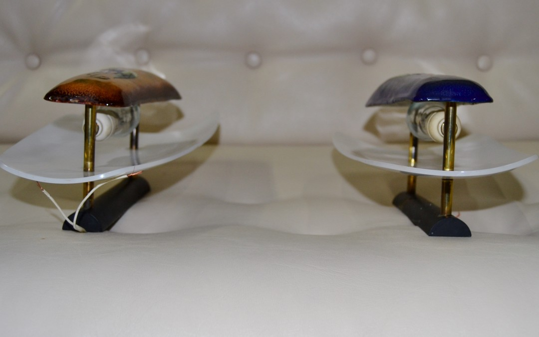 Gio Ponti for Paolo De Poli Enamel Sconces, Italy 1954, Set of Two