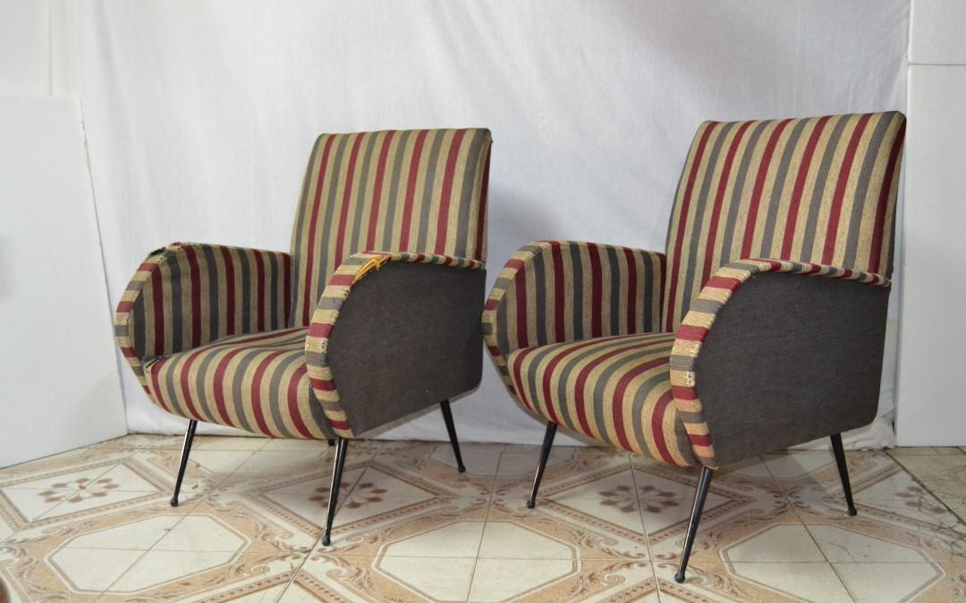 Coppia Poltrone armchairs anni 60 design style Gio Ponti modernariato.