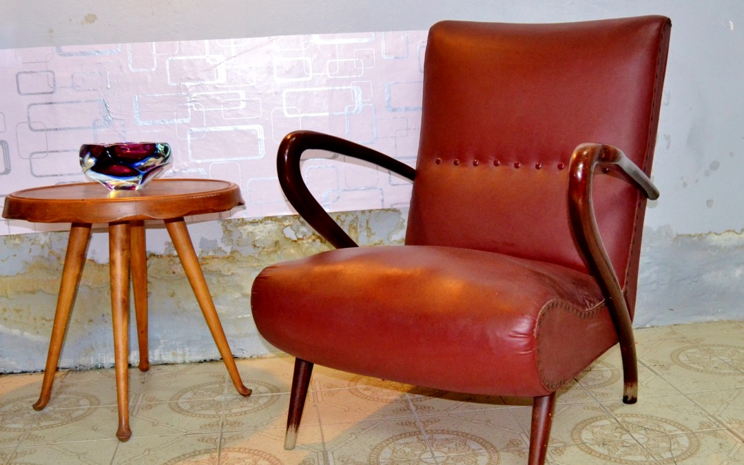 Poltrona Mid-Century Modernist armchairs design by Guglielmo Ulrich.1940