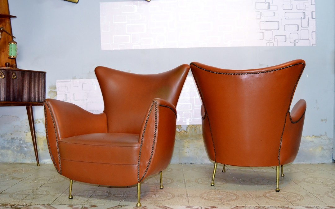 Ico Parisi Design,due  Armchairs Prod. Ariberto colombo '50