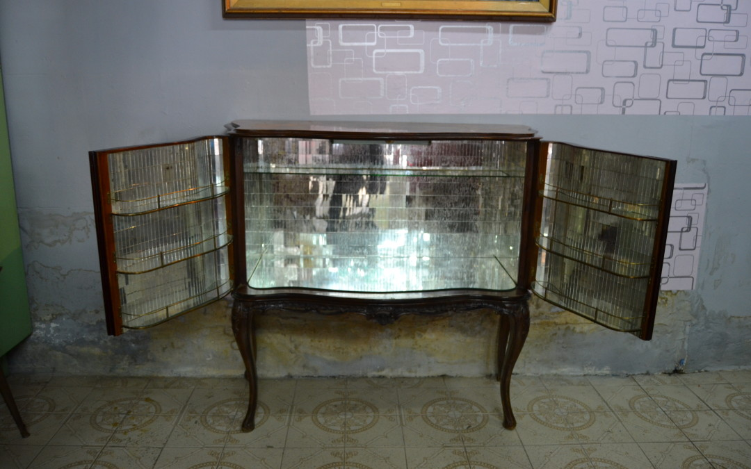 buffet mobile bar anni 40 Sicilia mirror art deco mid century