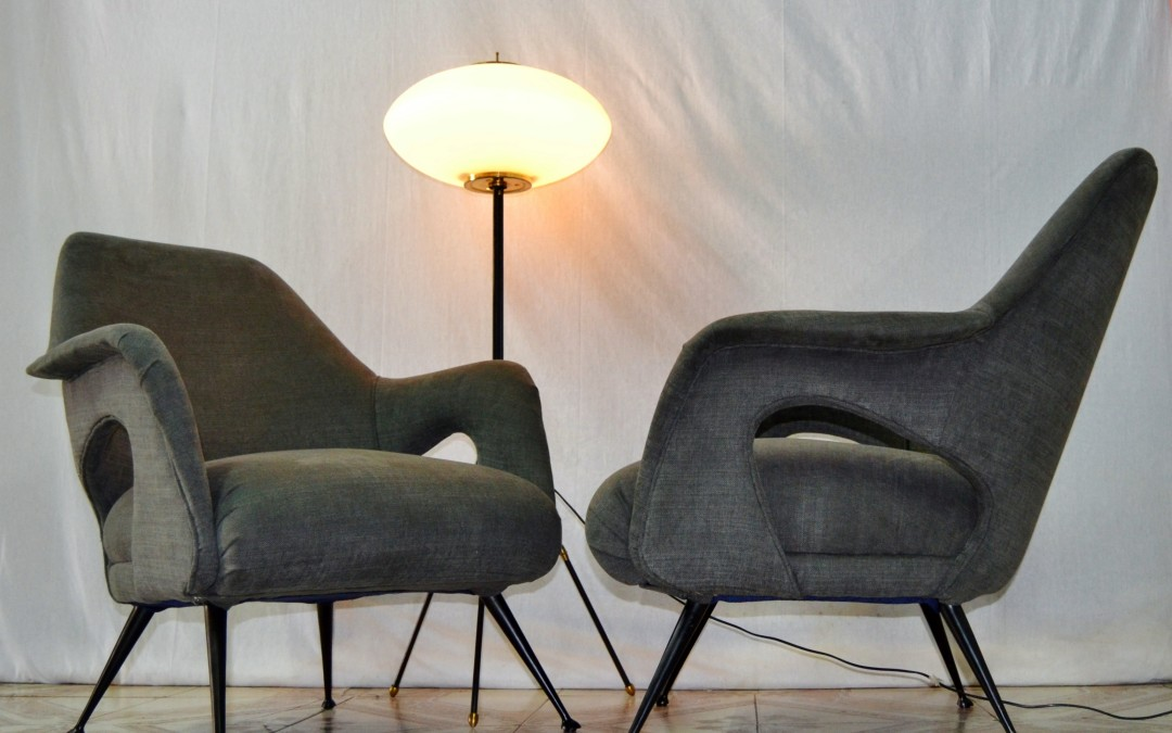 Coppia poltrone in stoffa Pair of Armchairs design style Gio Ponti 1950 / 60