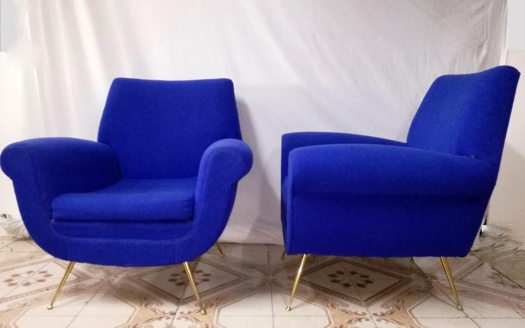 Coppia poltrone armchairs Sofa' design Gigi Radice per Minotti anni 50
