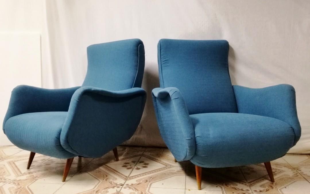 Poltrone media misura armchairs chairs anni 50 stoffa