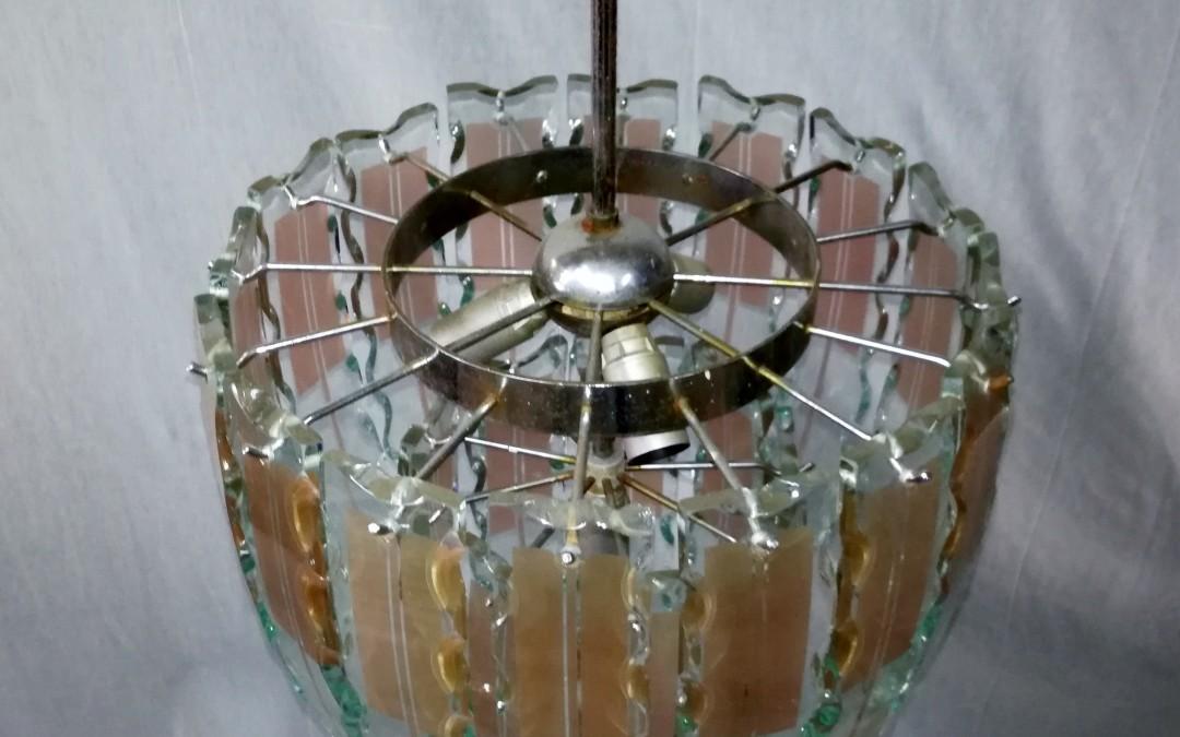 Lampadario Lamp design Chandelier style Fontana Arte Vetro scalpellato
