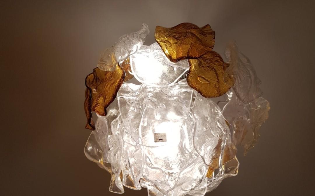 Lampadario chandelier con foglie in vetro di Murano di Mazzega, anni 60 ' 70