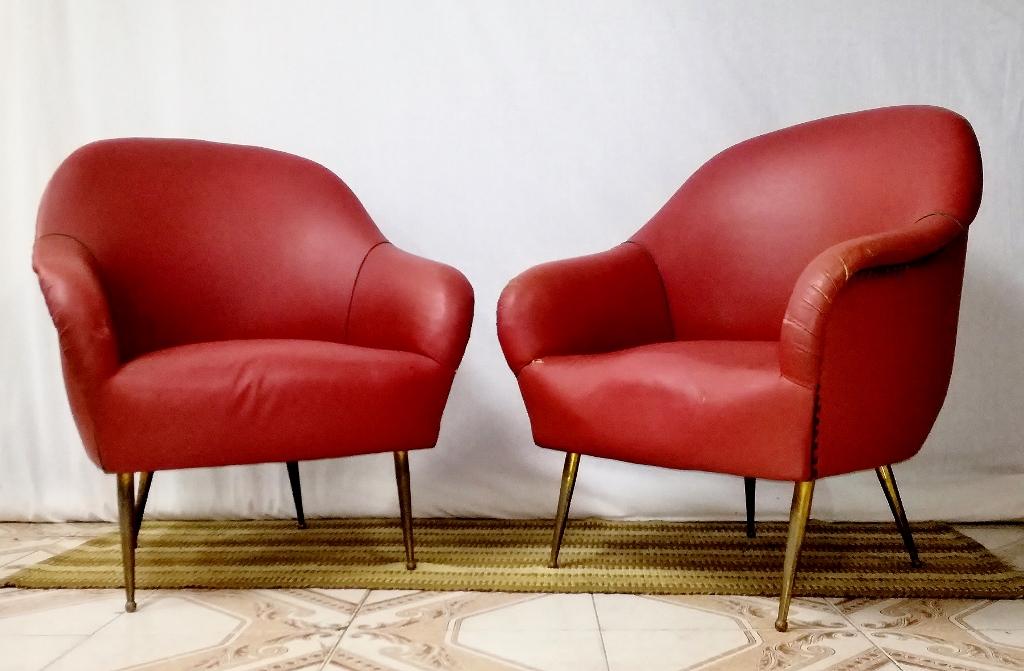 Poltrone coppia armchairs,sofa in sky Design Stile Di Gio Ponti anni 50 italiano