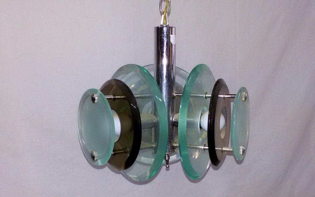 Lampadario chandelier lustre in cristallo e cromo,